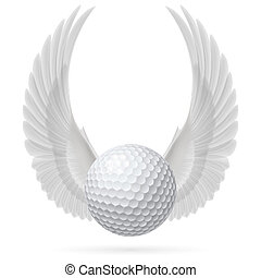 Flying ball - Golf ball with raised up white wings