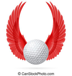 Flying ball - Golf ball with raised up red wings