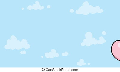 Flying Balloon - A pink, cartoon balloon floats through the...