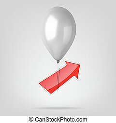 Flying balloon with red arrow