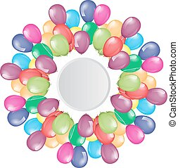 Flying balloons border with circle empty space for your text or design.