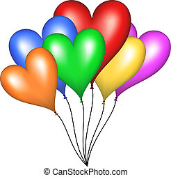 Flying balloons in shape of heart
