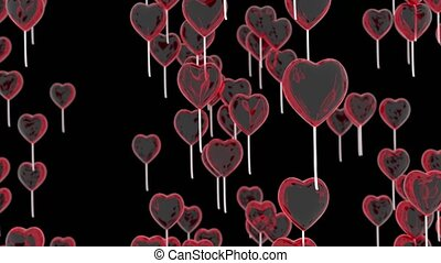 Flying balloons in the shape of a heart. Romantic background for valentine's day. 3d Rendering