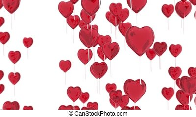 Flying balloons in the shape of a heart. Romantic background...
