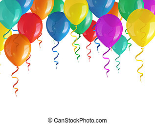 flying balloons isolated on white background