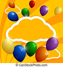 Flying balloons on a background of clouds. Abstract background.