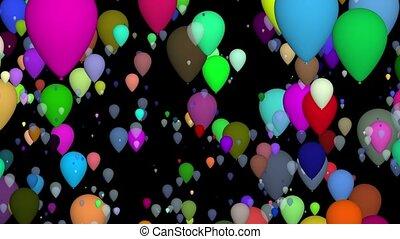 Flying balloons on black