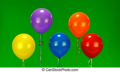 balloons - Flying balloons on green screen