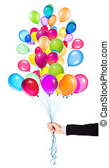 flying balloons with Businessman hand