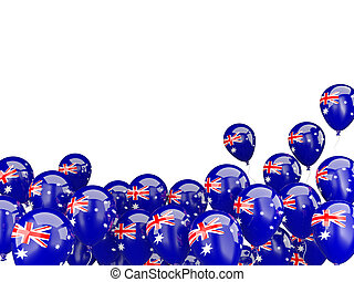 Flying balloons with flag of australia