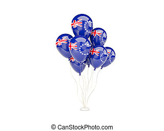 Flying balloons with flag of cook islands isolated on white