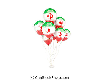 Flying balloons with flag of iran