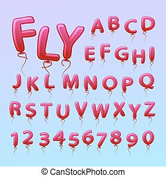 Flying balls in the form of letters numbers.