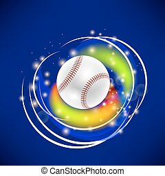 Flying Baseball Ball with Yellow Sparkles