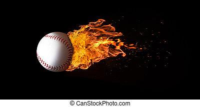 Flying Baseball Engulfed in Flames