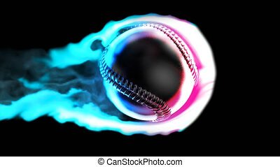 Flying baseball on fire on a black background