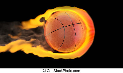 Flying basketball on fire on a black background