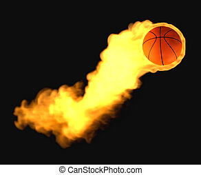 Flying basketball on fire