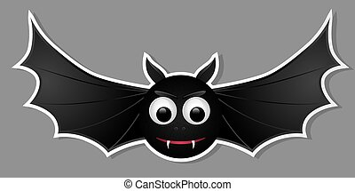 Flying bat isolated on grey background.