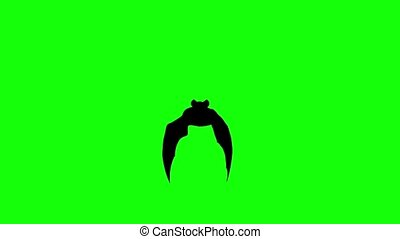 Flying bat on a computer graphic animation. Green screen -...