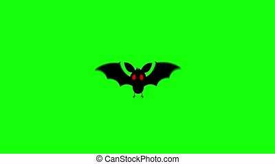 Flying bat with red eyes on a computer graphic animation. ...