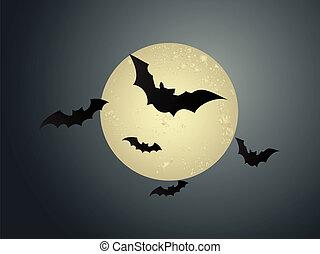 Flying bats in Halloween night