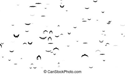 Flying bats on a white background animation