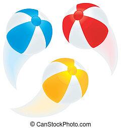 Flying beach balls