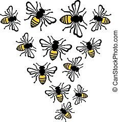 flying bee vector illustration (swarm)