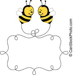 Flying bees making label in the air - Scalable vectorial...