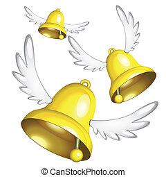 Flying golden Easter bells