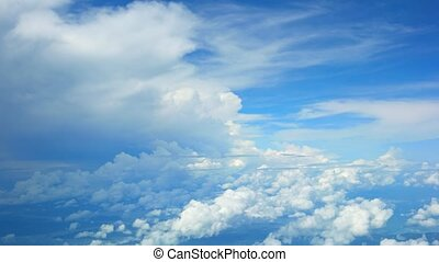 Flying between Layers of Puffy Clouds. - Airborne...