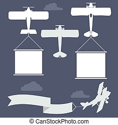 Flying biplanes with banner