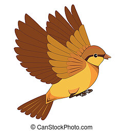 Flying bird cartoon isolated on a white background - Flying...