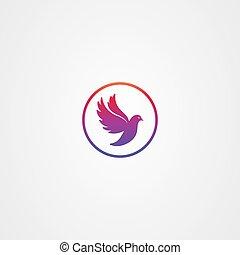 Flying bird dove icon logo vector design