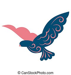 Flying bird flat color illustration on white