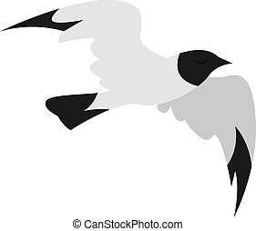 Flying bird, illustration, vector on white background.