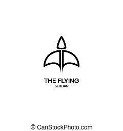 Flying bird logo, minimal logo with a flying bird shape
