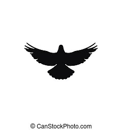 flying bird silhouette on white background style