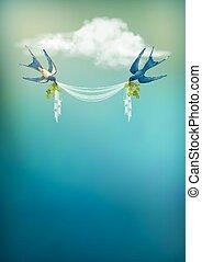 Flying Bird Swallow Vector Card