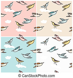 Flying birds in a seamless pattern