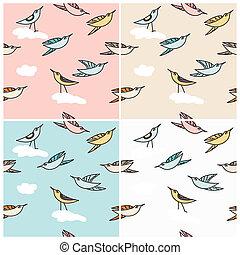 Flying birds in a seamless pattern