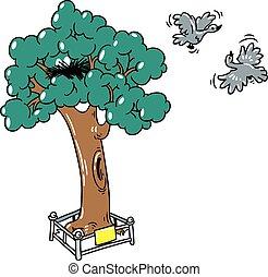 Flying birds near a tree