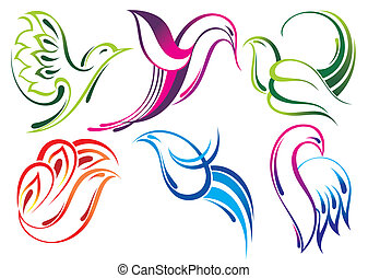 Flying birds vector icons