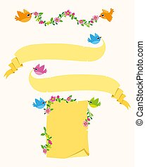 Flying birds with Banners Vector Set