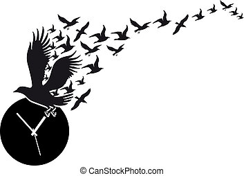 time flies, flying birds silhouettes with wall clock, vector illustration