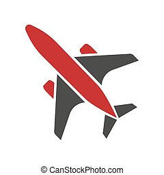 Flying black and red aircraft hand drawn isolated symbol