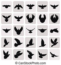flying black dove pigeon simple icons set