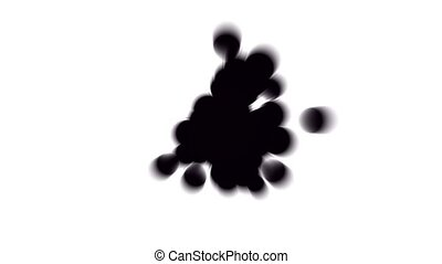 flying black ink dots with blur light, bubbles & particles.