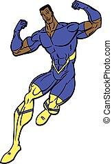 Flying Black Male Super Hero